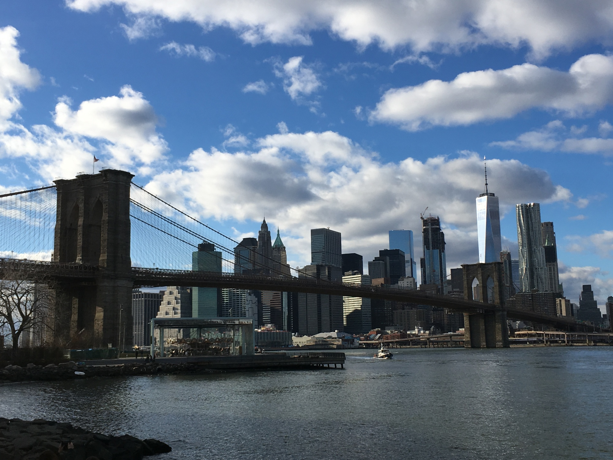 The Brooklyn Bridge and the skyline of Lower Manhattan