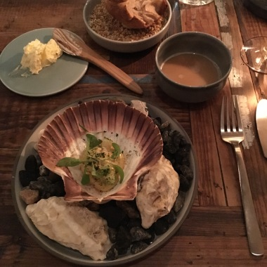 Salted scallop with sea salad, blue mussels and cilantro - one of eight courses at Höst, Copenhagen