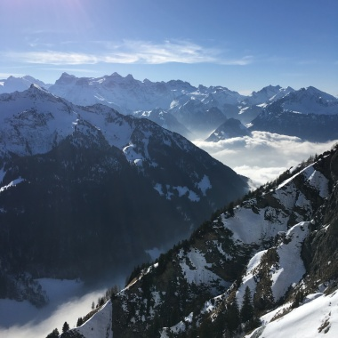 View from Klingenstock, Stoos, into the Central Swiss Alps