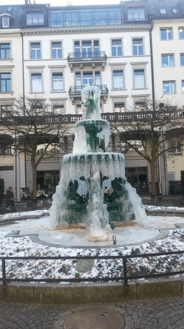 Too cold, even for a fountain