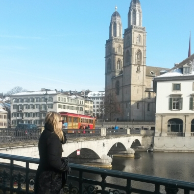 Ivana glancing at the Grossmünster church