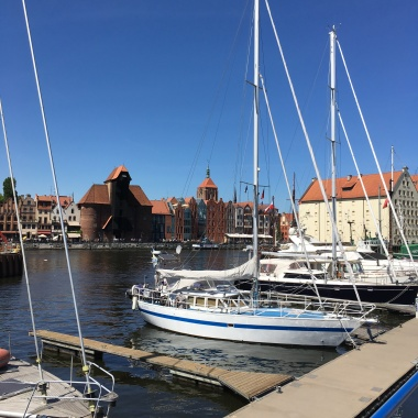 View on Main Town Gdansk with the wooden ship crane from across Motlawa river