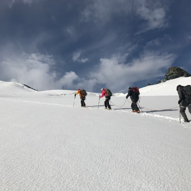 Our rope team during the ascent to Strahlhorn