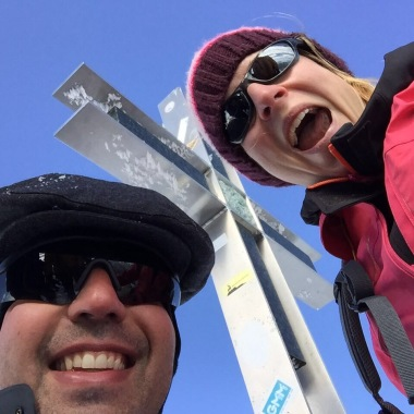 We made it! My wife Corina and I at the summit cross of Strahlhorn at 4,190 m.