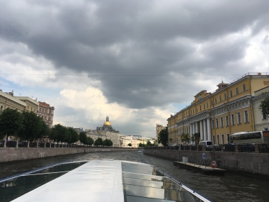Cruising the canals of St Petersburg: Yusopov Palace on the right, St Isaac's cathedral in the background