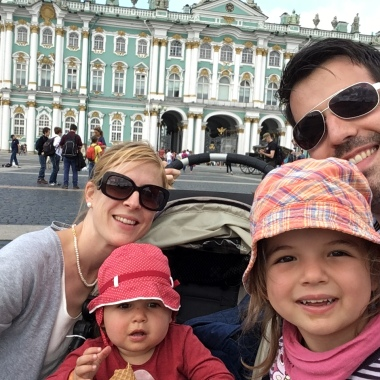 Family selfie in front of the magnificent Winter Palace