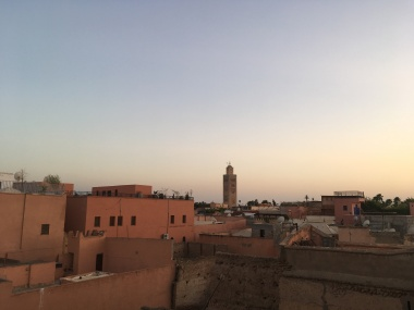 Rooftop view on the Medina with the minaret of the Koutoubia mosque