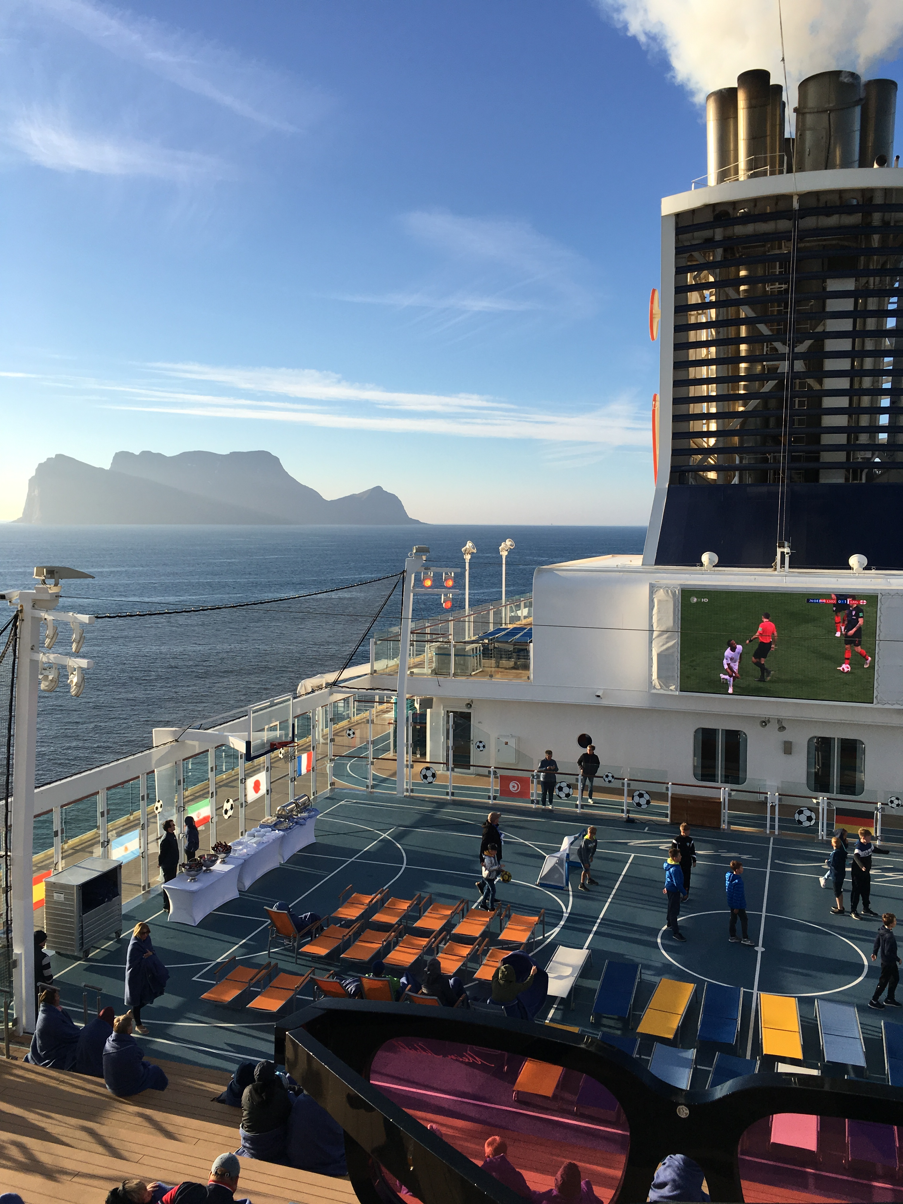 Watching football on the sundeck of our cruiseship
