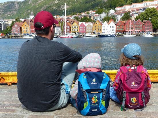 View across the Vågen harbour to the Hanseatic district of Bryggen in Bergen, Norway.