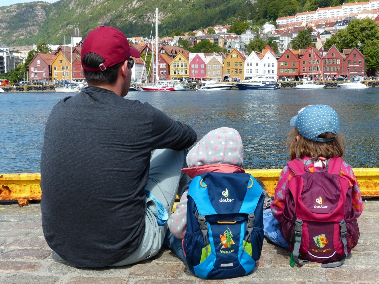 View across the Vågen harbour to the Hanseatic district of Bryggen in Bergen, Norway.