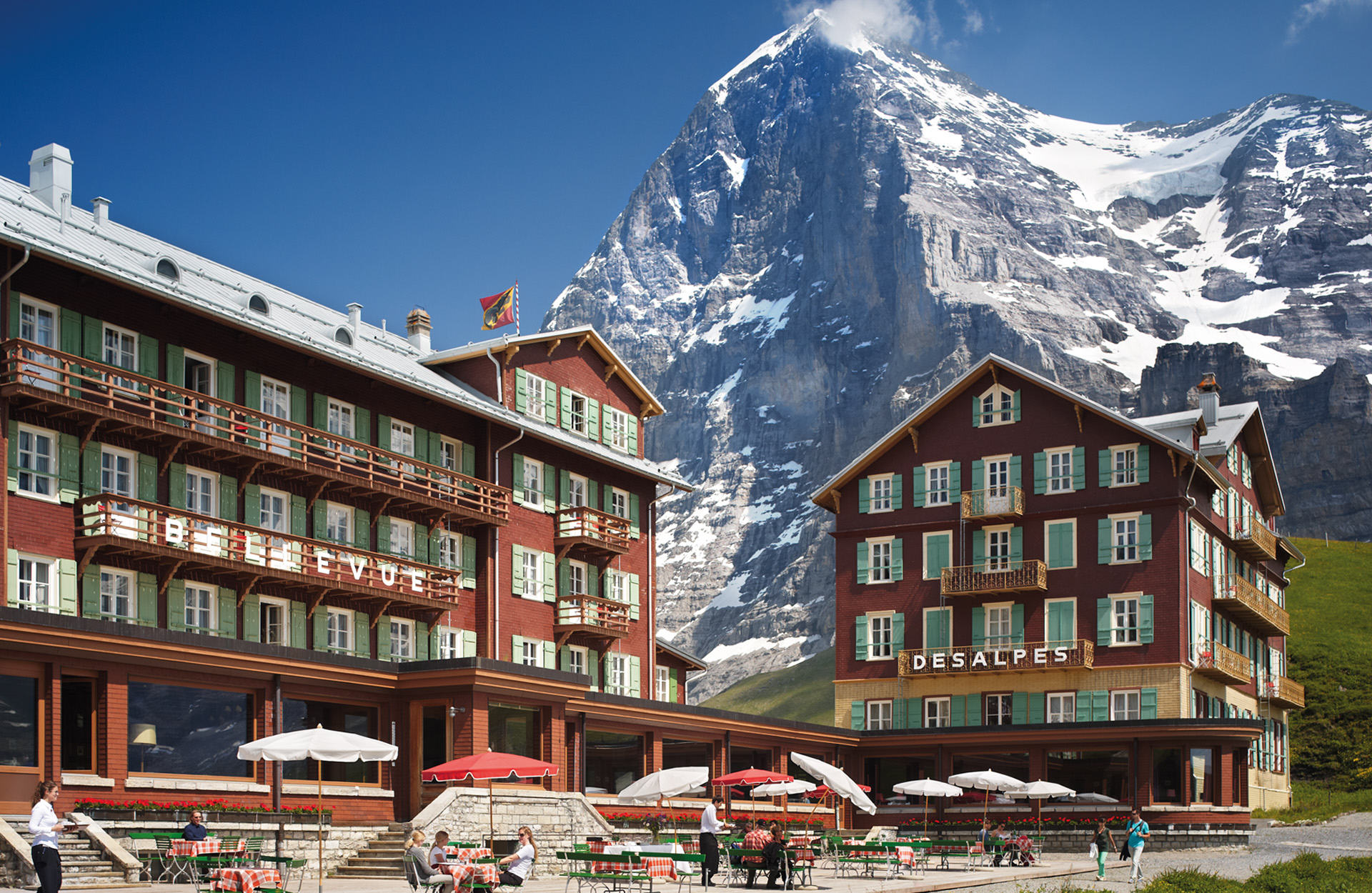 The historic Hotel Bellevue des Alpes in front of the famous Eiger north face