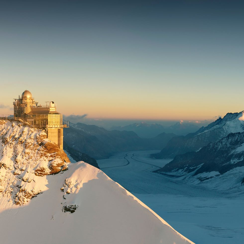 Sunset on the Jungfraujoch, view of the Aletsch Glacier