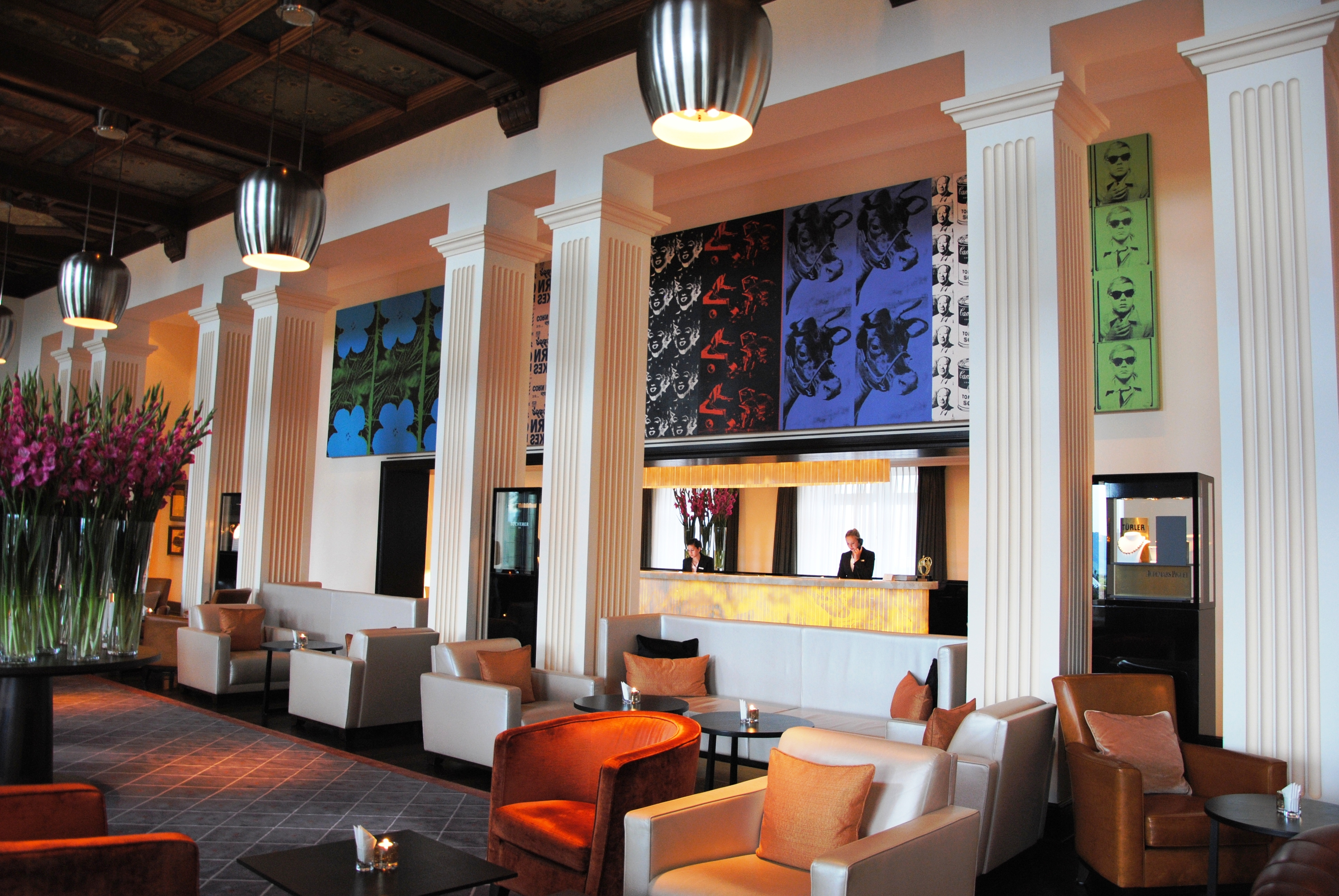 The lobby of The Dolder Grand with a painting by Andy Warhol