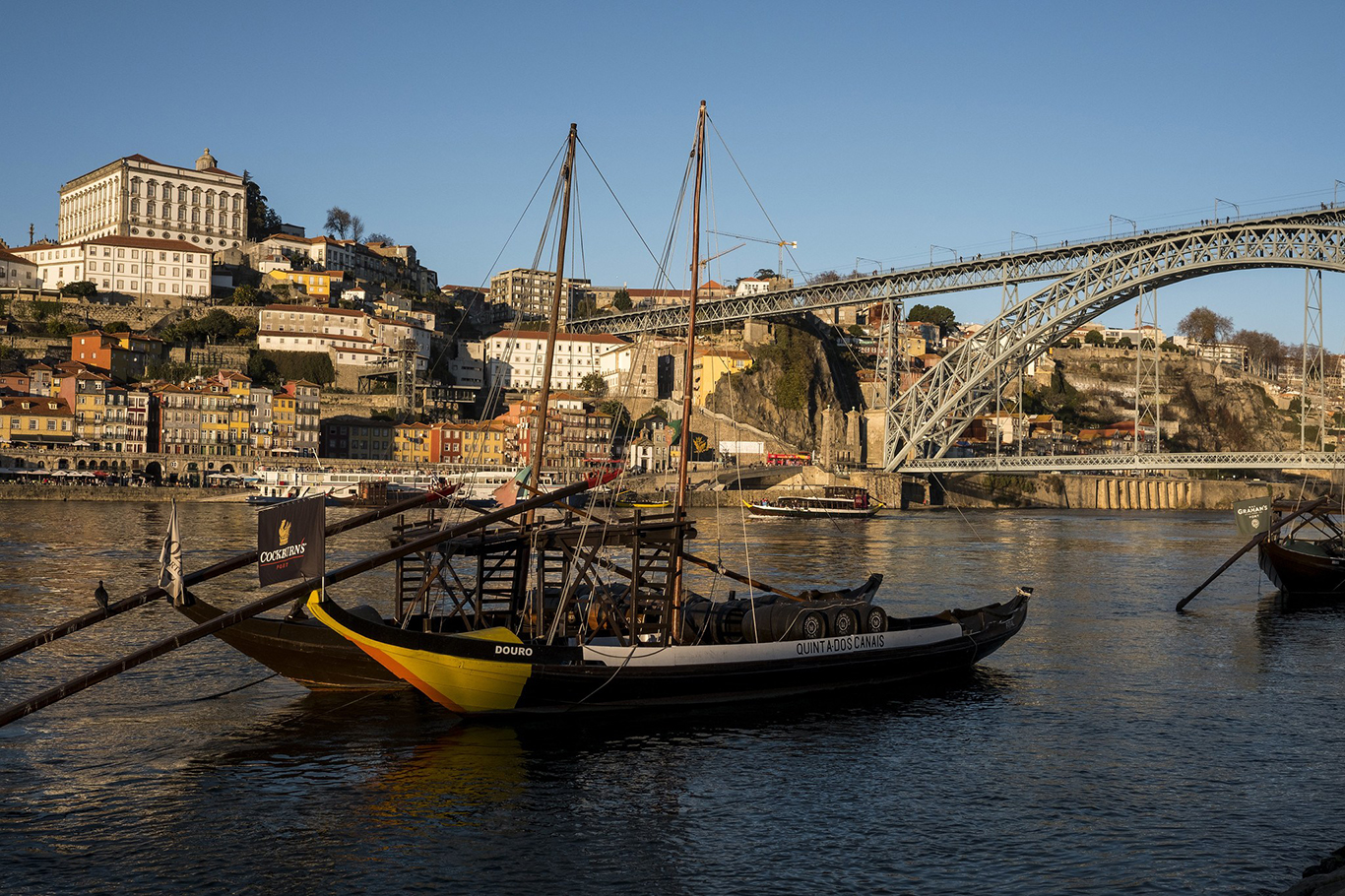 View on Porto's Ribeira neighbourhood and the Dom Luís I Bridge from accross the river Douro