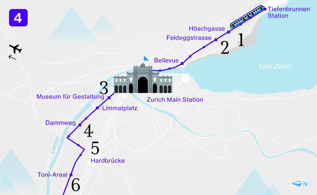 An overview of the design line 4 route in Zurich
